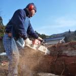 妻籠宿の屋根の材料準備